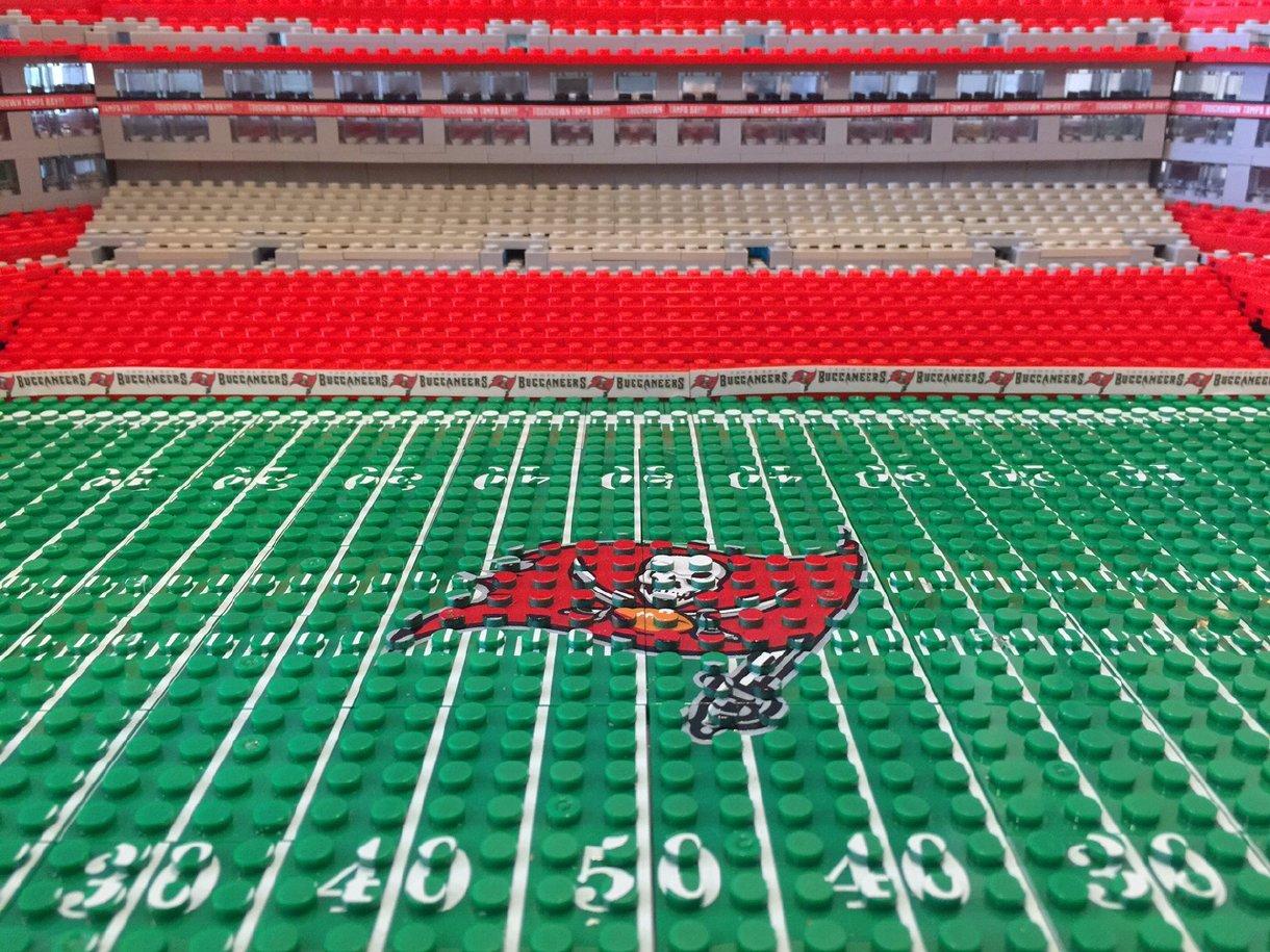 Lego Model Of Tampa Bay Bucs Raymond James Stadium